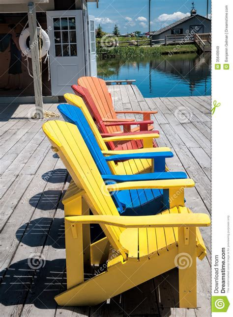 beach chairs   colors royalty  stock images