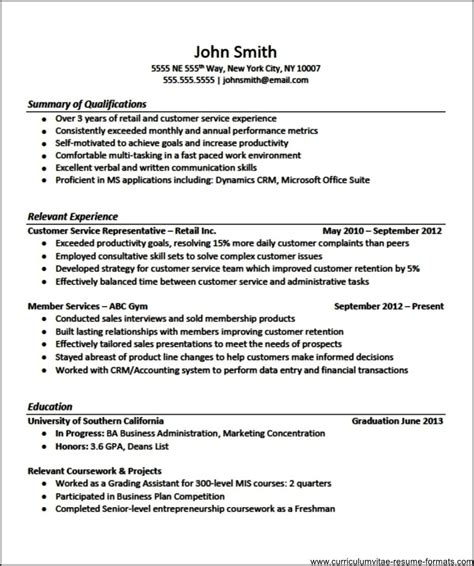Cv Format For Experienced by Resume Template For Experienced Professional