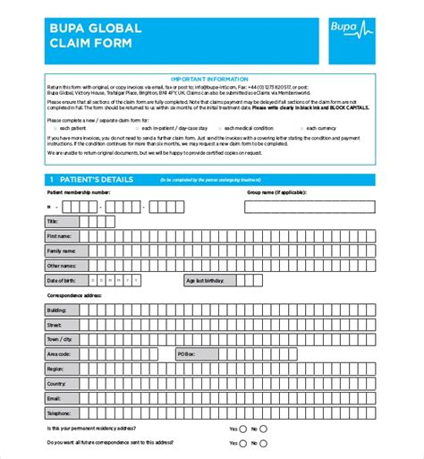 sample medical claim forms sample forms