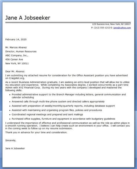 office assistant cover letter sample resume downloads