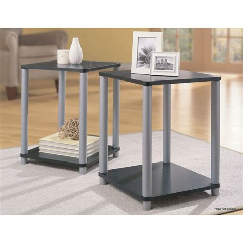 black and silver coffee table essential home end tables in black and silver 2 table set