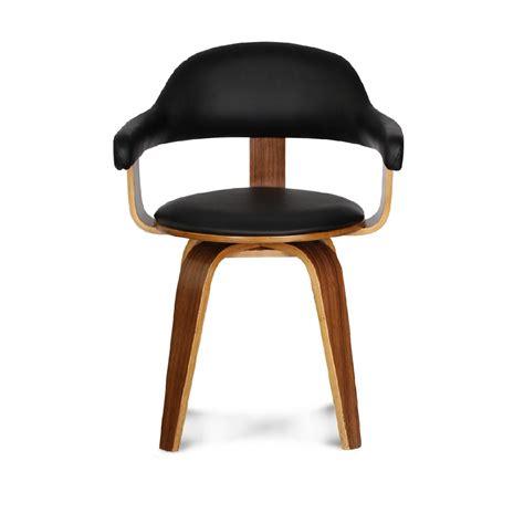 chaise de bureau pour enfants chaise design suédoise simili cuir noir et bois massif walnut