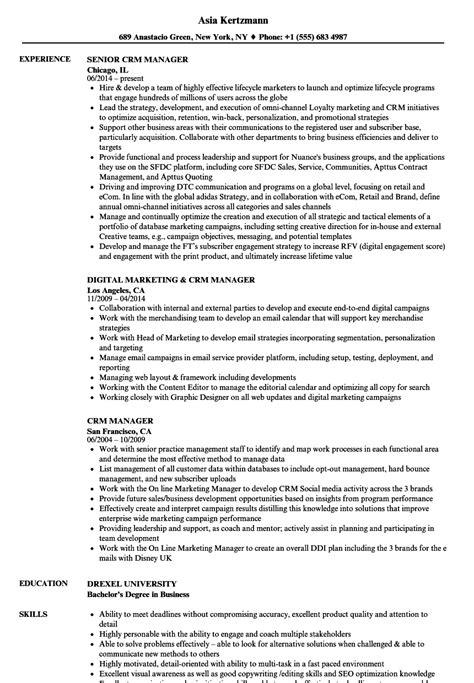 crm manager resume sles velvet