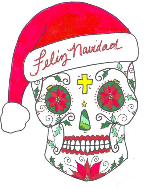 feliz navidad sugar skulls mexican christmas