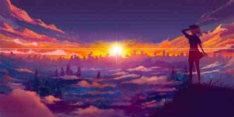 Anime Sunset Wallpaper - anime sunset background www pixshark images