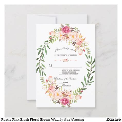 Rustic Pink Blush Floral Bloom Wedding RSVP Zazzle com