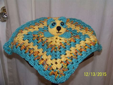 Panda Bear Head Security Blanket-yellow And Blue-hand Crocheted Baby Blanket Edging Ideas Knitting Extra Large Waterproof Picnic Totes Ladder Diy Sewn Fleece Instructions What Is The Measurement Of A Twin Size Hudson Bay Beach Towel Tie Pattern