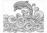 Dolphin Coloring Dolphins Waves Da Delfini Colorare Disegni Stampare Jumping Adult Mandala Colouring Adults Printable Zentangle Animal Animals Drawing Dibujos sketch template