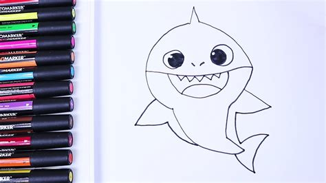 glitter baby shark drawing  kids learn colors