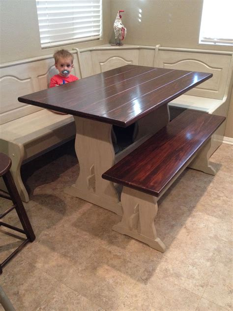diy painted stained kitchen table booth banquette nook