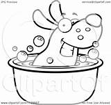 Tub Dog Cartoon Clipart Coloring Happy Soaking Outlined Vector Pages Template Cory Thoman Sketch sketch template