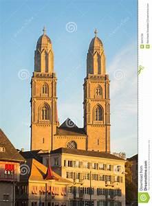 Grossmunster Church In Zurich Switzerland Stock Photo ...