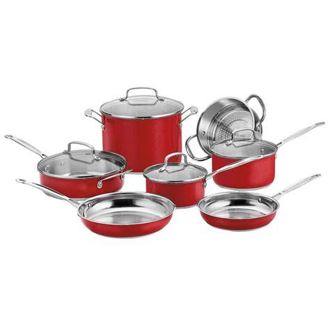 cuisinart chefs classic  piece red cookware set  lids css   home depot