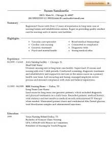 resume sles for rns in term care resume template