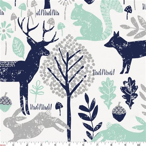toddler boy bedding navy and mint woodland animals fabric by the yard navy