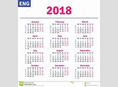 Engelse kalender 2018 vector illustratie Illustratie