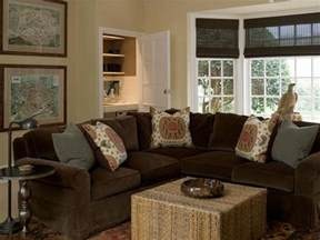 Brown Sectional Living Room Ideas by Brown Velvet Sectional Cottage Living Room Phoebe Howard