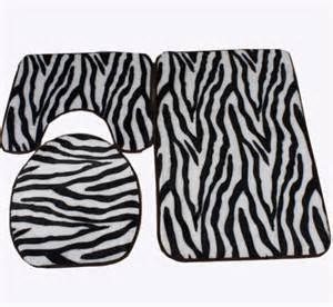 zebra print black and white bath mat toilet rug set 3