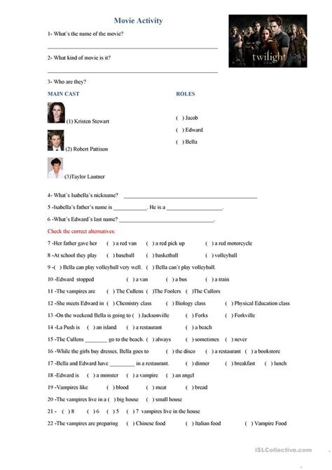 twilight movie activity worksheet free esl printable worksheets made by teachers