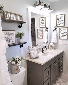 best 25 grey bathroom decor ideas on pinterest half With kitchen cabinets lowes with free printable wall art for bathroom