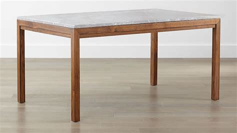 Parsons Grey Marble Top/ Elm Base Dining Tables   Crate
