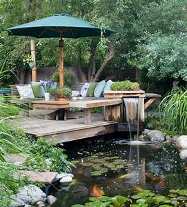 Décoration de jardin avec une fontaine pour bassin Archzine fr