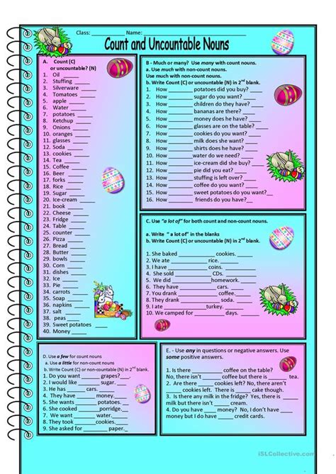 count and noncount nouns worksheet free esl printable