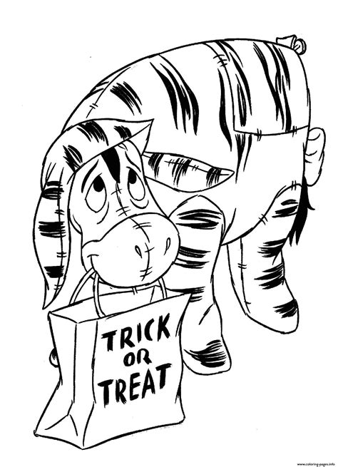 winnie  pooh halloween trick  treat coloring pages printable