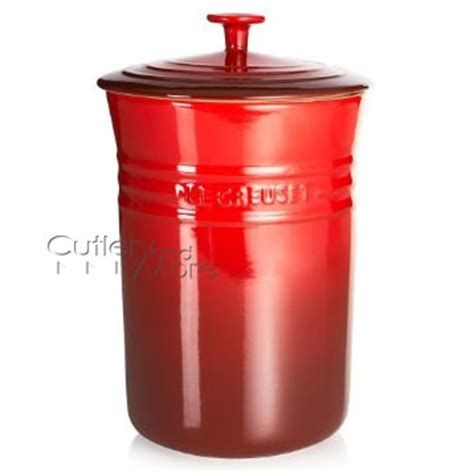 le creuset stoneware canister  quart cherry red cutlery
