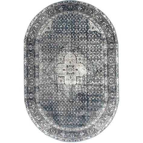 Blue Oval Rug by Nuloom Vintage Kellum Blue 5 Ft 11 In X 9 Ft Oval Area
