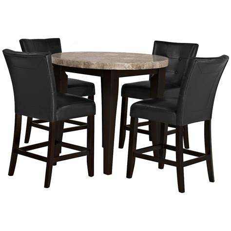 high round dining table monark round marble high tbl 2 barstools