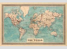 Restored Vintage Maps Map of The World Author Beers, J