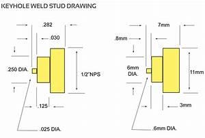Stainless Steel Keyhole Weld Stud