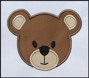INSTANT DOWNLOAD Bear Face Applique designs 3 sizes