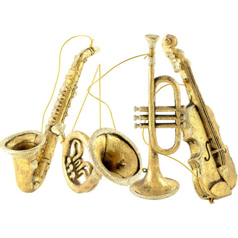 8 quot 11 quot assorted musical instrument ornaments gold set of