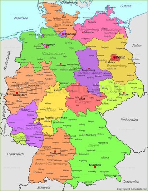 deutschland karte deutschland politische landkarte