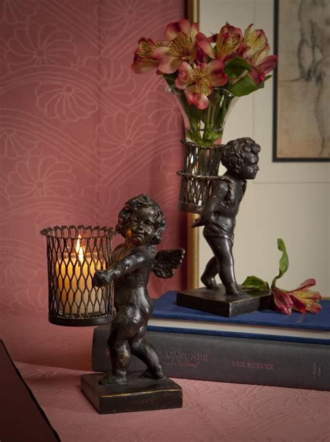 dessau home bronze iron angel sculpture  votive home decor