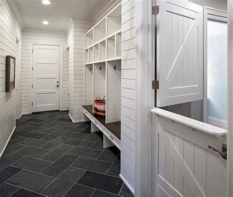 long mudroom  dutch door  slate herringbone tile