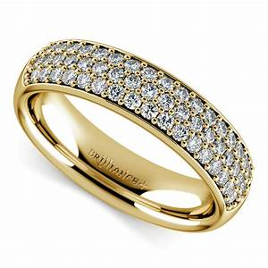 three row pave diamond wedding ring in yellow gold With pave diamond wedding rings