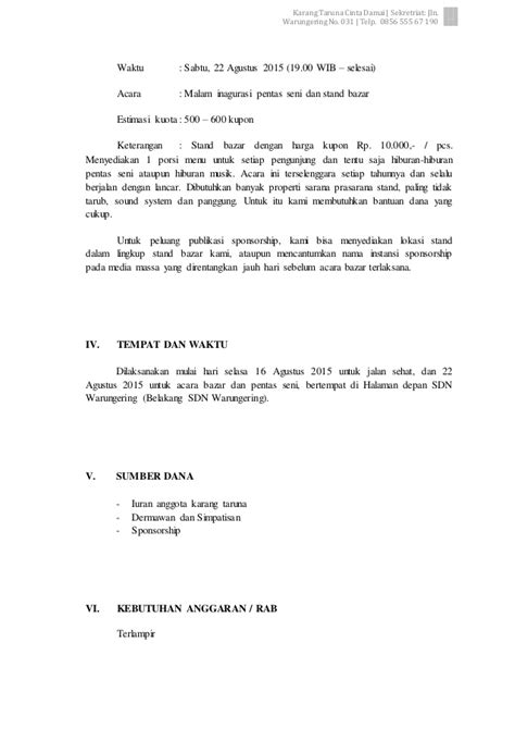 Surat Permohonan Sponsor by Contoh Acara Kegiatan Contoh O