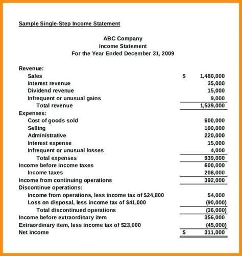 common size income statement template   income