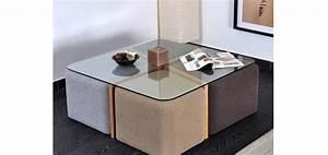 Table Basse Pouf Intégré : table basse verre 4 poufs ~ Dallasstarsshop.com Idées de Décoration