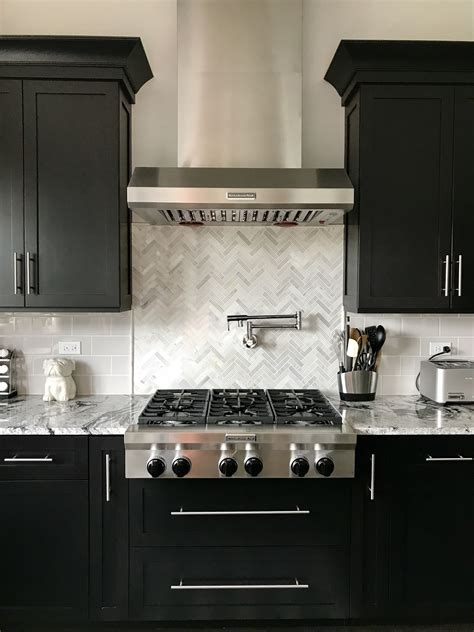 Subway Tile Kitchen Backsplash Pictures by Espresso Cabinets With Light Grey Subway Backsplash