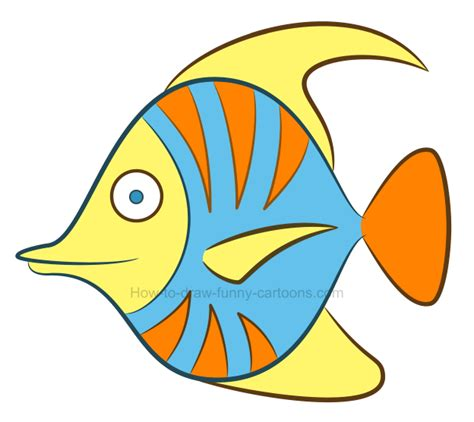 draw  tropical fish clipart