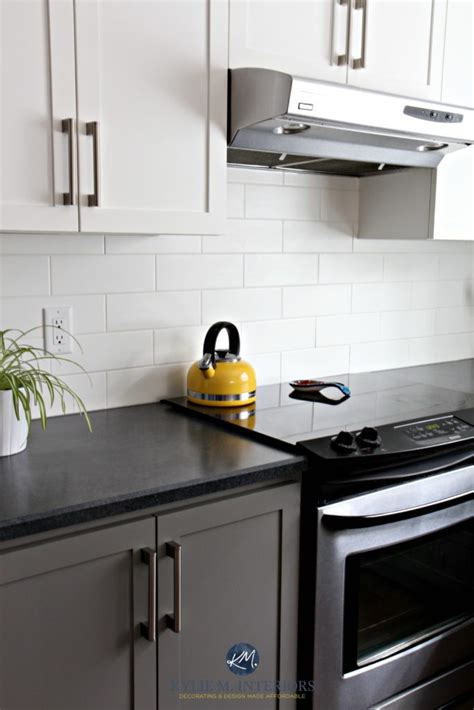 black appliances  white  gray cabinets