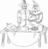 Thanksgiving Coloring Pages Feast Pilgrim Indian Printable Disney sketch template