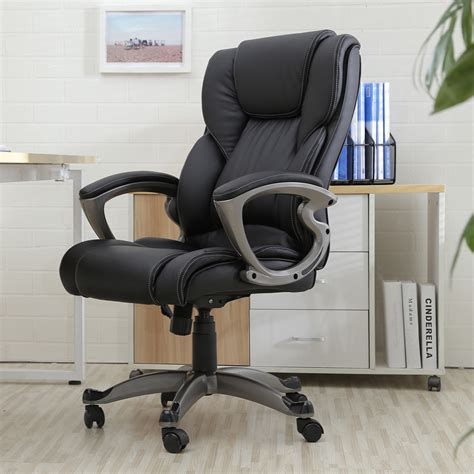 Aof Ergonomic Office Chairs Black Pu Leather High Back Office Chair Executive Task