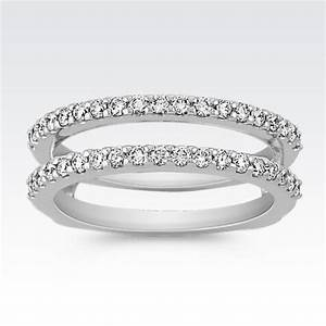 diamond double band solitaire engagement ring guard With wedding ring guard bands