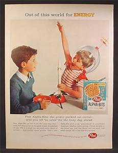 Magazine Ad For Post Alpha-Bits Cereal, Boy In Clear Space ...
