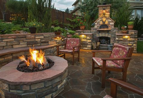 backyard landscaping pit beautiful paved backyard garden with a fire pit in front of two armchairs and a fireplace as an